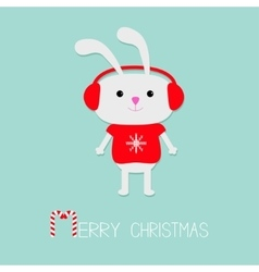 Cute rabbit in red pullover with snowflake vector