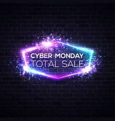 cyber monday concept banner in neon style vector image