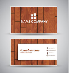 design business card with wooden texture vector image