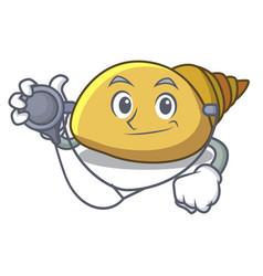 Doctor mollusk shell character cartoon vector