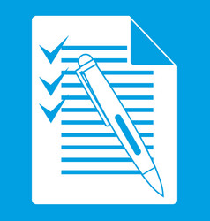 Document with plan and pen icon white vector