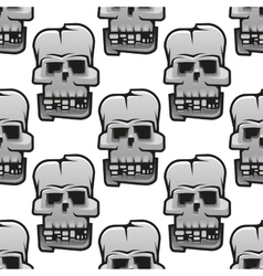 Eerie cracked skulls seamless pattern vector image