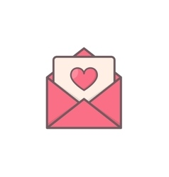 Envelope with heart inside vector