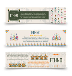 ethno banners template with boho ornaments vector image