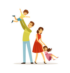 Family time father mother son daughter characters vector