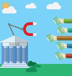 Flat design modern concept for Bank and magnet vector image