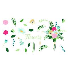 floral bouquet design set branch vector image