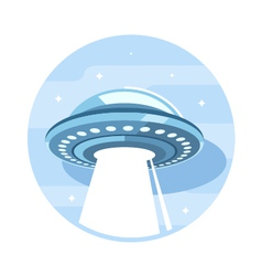 Flying UFO Flat Icon vector image
