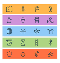 Gardening icons set with stairway sweet berry vector