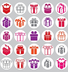 Gift boxes icons set surprise simplistic symbols vector