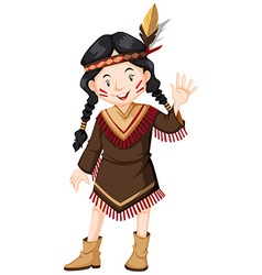 Girl native american indian vector