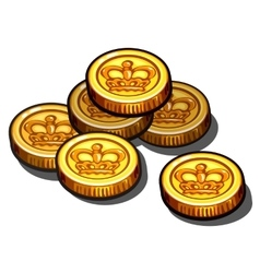 Gold coins with royal crown isolated vector image