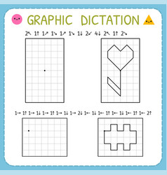Graphic dictation preschool worksheets for vector