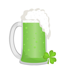 Green beer icon flat style st patrick s day vector