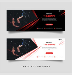 Gym and fitness banner promotion template vector