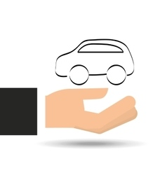 Hand holding insurance car silhouette vector
