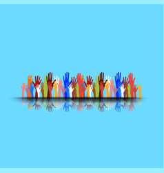 hands of different colors cultural and ethnic vector image
