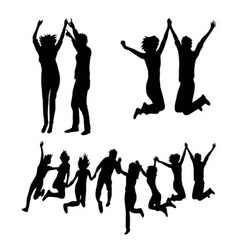 Happy Jumping Together Silhouettes vector image