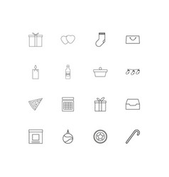 holidays linear thin icons set outlined simple vector image