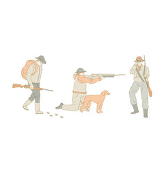 Hunter with dog hunting sport rifle or gun aiming vector