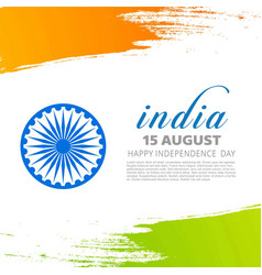 indian tricolor flag with wheel on white vector image