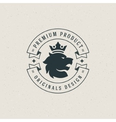 King Lion head and crown Design Element vector
