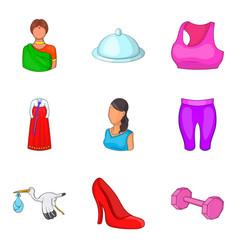 Ladylike icons set cartoon style vector