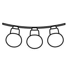 Line nice bulbs hangings decoration style vector