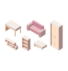 living room isometric furniture set pink folding vector image