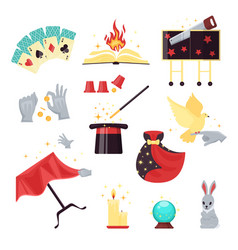 magic show elements set with playing cards vector image