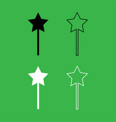 magic wand icon black and white color set vector image