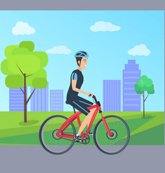 male with bike in special uniform city park vector image