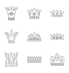 Medieval crown icon set outline style vector