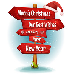 Merry christmas wishes on red signs arrows vector