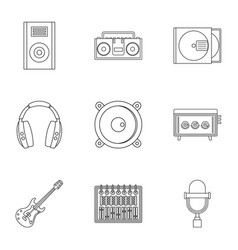 Music recording icon set outline style vector
