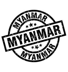 Myanmar black round grunge stamp vector