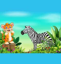 Nature scene with a tiger standing on tree stump a vector