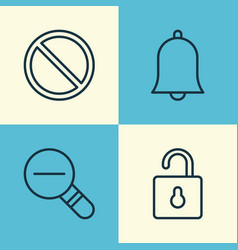 Network icons set collection of bell zoom out vector