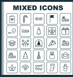 New icons set collection of winter celebrate vector