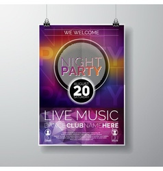 Night Party Flyer Design with copy space vector