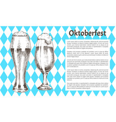 Oktoberfest poster pair beer goblet with foamy ale vector