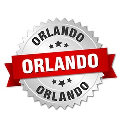 Orlando round silver badge with red ribbon vector