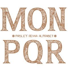 Paisley henna alphabet mnopqr vector