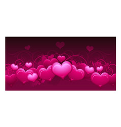 Panoramic horizontal pink abstract valentines day vector