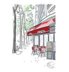 Paris bistro cafe sketch red vector