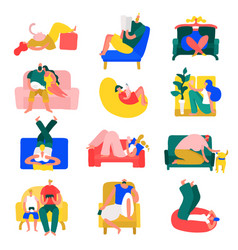 People rest home set vector