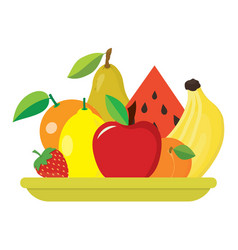 Plate with fruits vector
