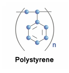 Polystyrene synthetic polymer vector image