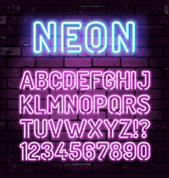 purple neon alphabet on brick wall vector image