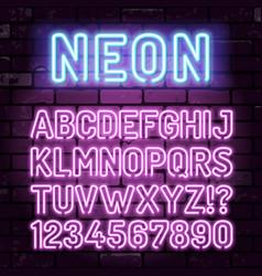 Purple neon alphabet on brick wall vector